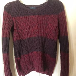 Burgundy and purple Cable Knit Sweater
